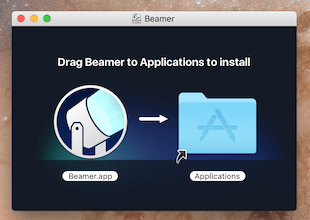 Beamer in opened disk image