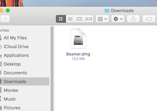 Beamer.dmg in Downloads folder